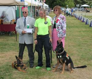 Jennifer recieving an AKC Grant check at a local dog show 2013. Abby and Annecy pictured with her
